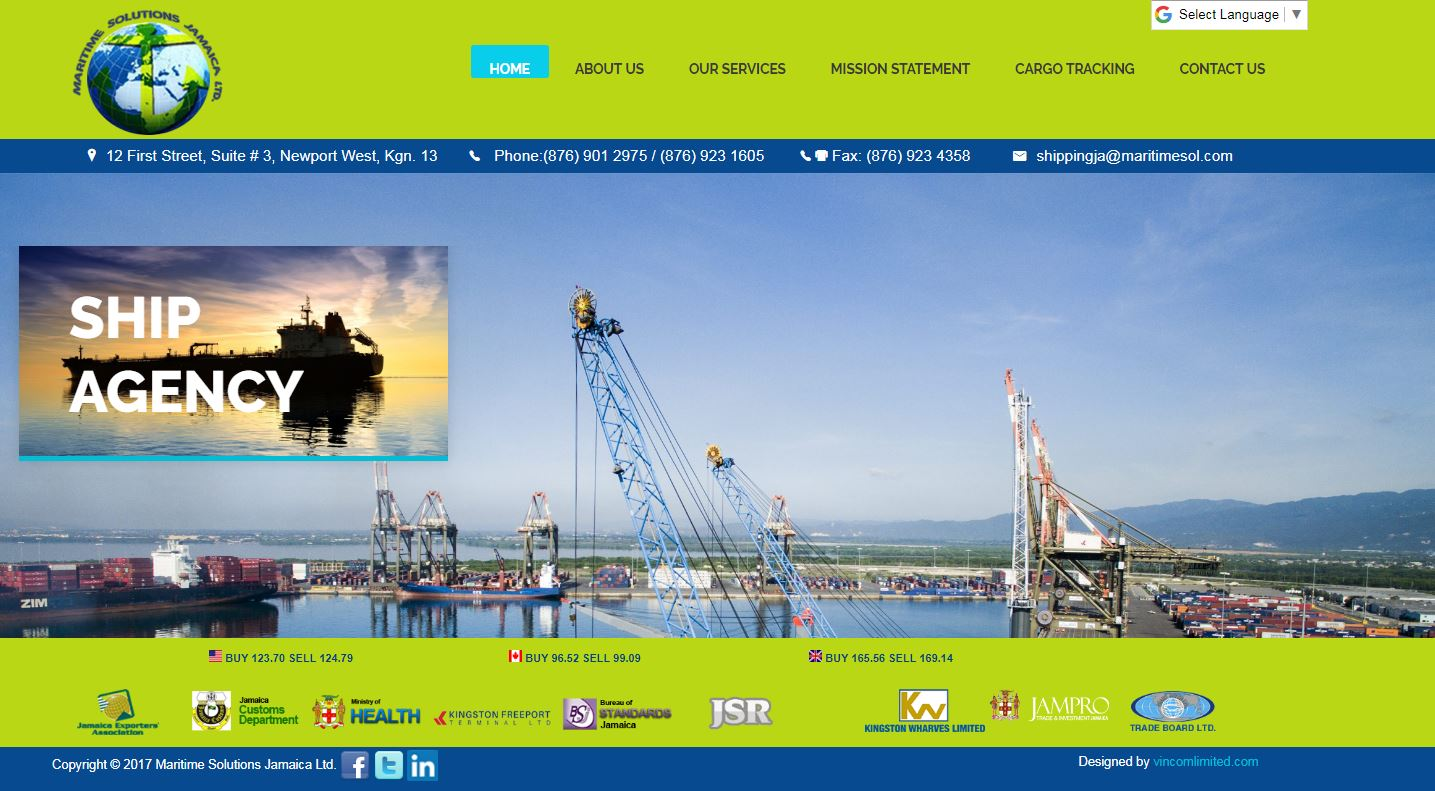 Maritime Solutions Limited Jamaica Website image