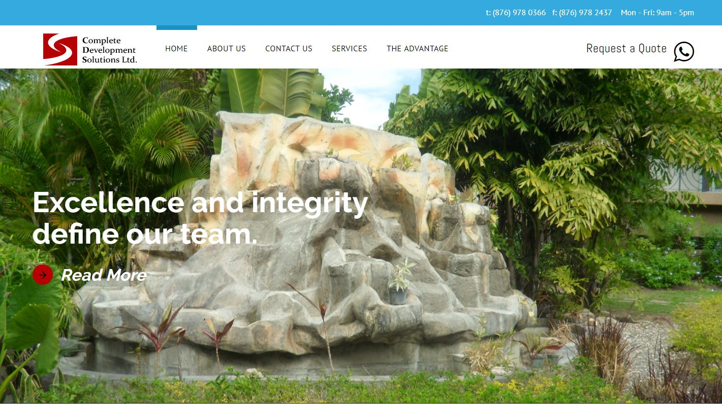 Complete Development Solution Limited (CDSL) Jamaica website snippet