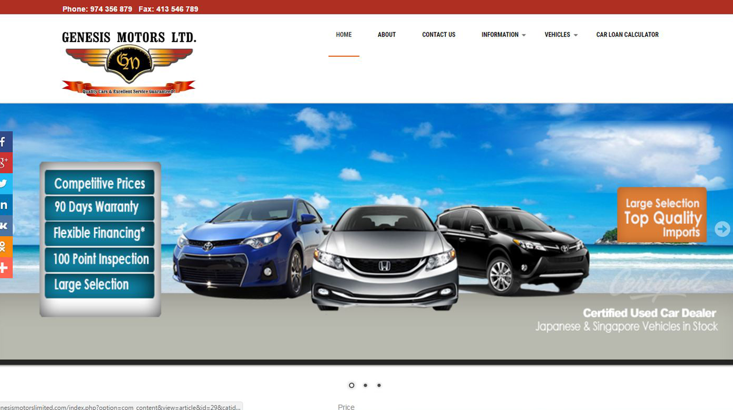 Genesis Motors Limited Website image