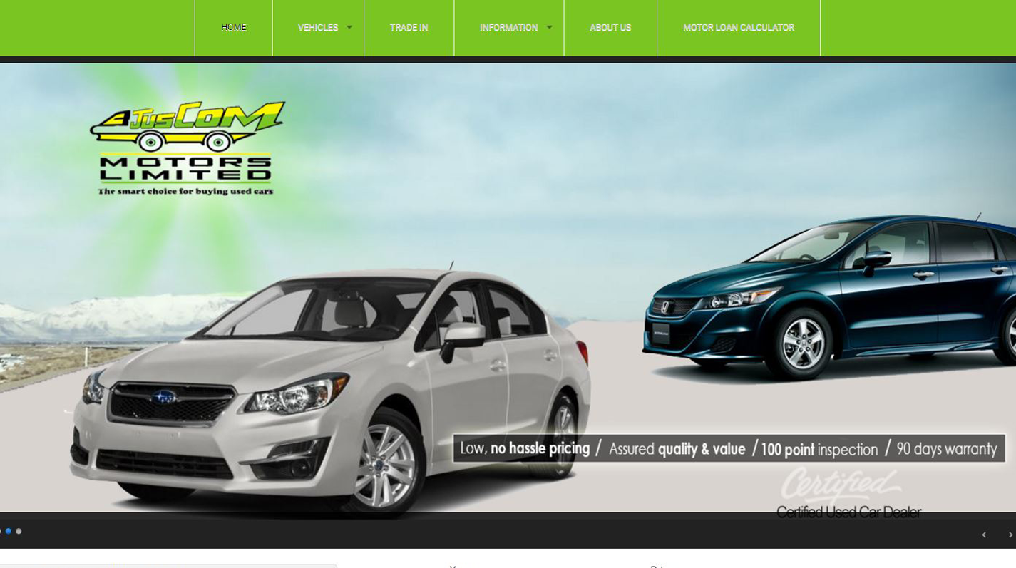 Juscom Motors Limited Website image